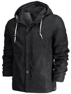 Drawstring Hood Zippered Jacket - Black 2xl