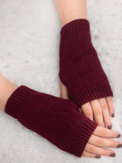 Winter Crochet Fingerless Gloves - Wine Red