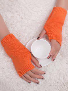 Winter Crochet Fingerless Gloves - Orange Yellow