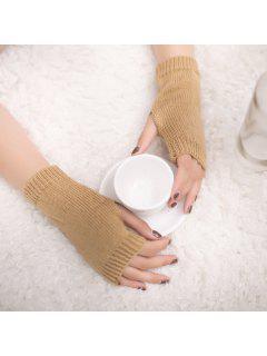 Winter Crochet Fingerless Gloves - Camel