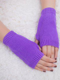 Winter Crochet Fingerless Gloves - Purple
