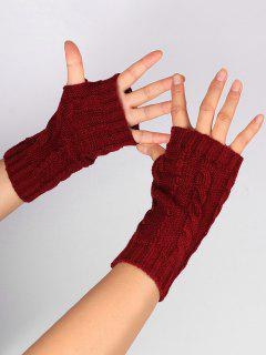 Hollow Out Embellished Knitted Exposed Finger Gloves - Wine Red