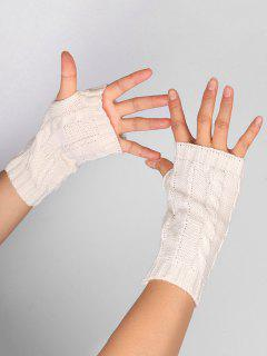 Hollow Out Embellished Knitted Exposed Finger Gloves - White
