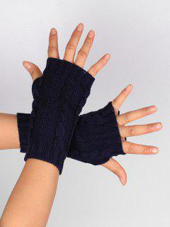Hollow Out Embellished Knitted Exposed Finger Gloves - Purplish Blue
