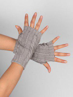 Hollow Out Embellished Knitted Exposed Finger Gloves - Light Gray