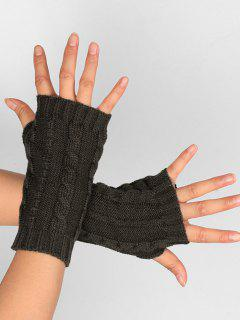 Hollow Out Embellished Knitted Exposed Finger Gloves - Deep Gray