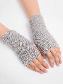 Striped Pattern Fingerless Knit Gloves - Light Gray