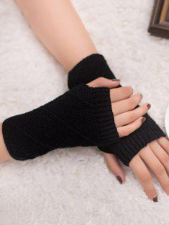 Striped Pattern Fingerless Knit Gloves - Black