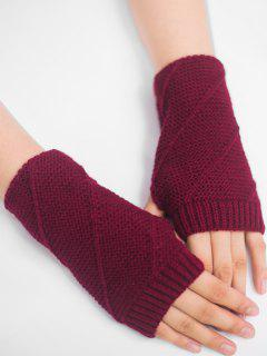 Striped Pattern Fingerless Knit Gloves - Wine Red