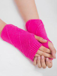 Striped Pattern Fingerless Knit Gloves - Fluorescent Rose Red