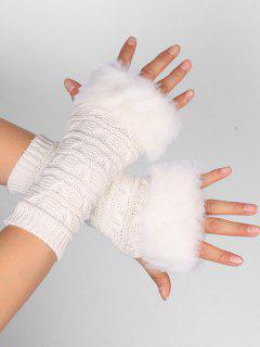 Soft Fur Winter Crochet Knitted Fingerless Gloves - White