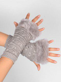 Soft Fur Winter Crochet Knitted Fingerless Gloves - Light Gray
