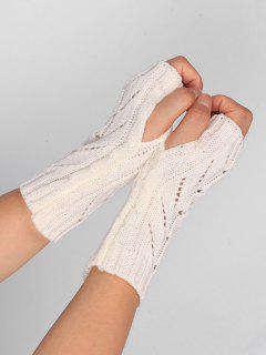 Hollow Out Crochet Knitted Fingerless Gloves - White