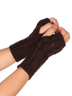 Hollow Out Crochet Knitted Fingerless Gloves - Coffee