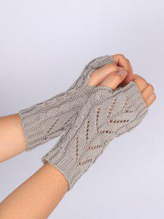 Hollow Out Crochet Knitted Fingerless Gloves - Light Gray