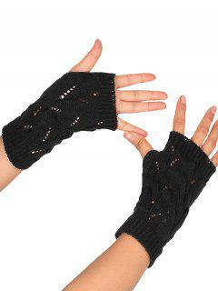Hollow Out Crochet Exposed Finger Knitted Gloves - Black