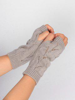 Hollow Out Crochet Exposed Finger Knitted Gloves - Light Gray
