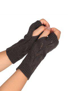 Hollow Out Crochet Exposed Finger Knitted Gloves - Deep Gray