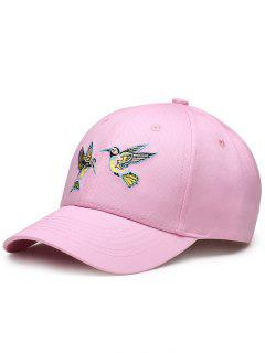 Flying Bird Embroidery Baseball Hat - Pink