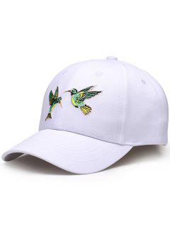 Flying Bird Embroidery Baseball Hat - White