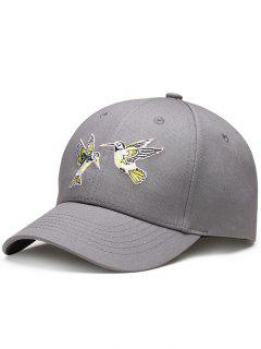 Flying Bird Embroidery Baseball Hat - Gray