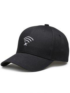 WIFI No Signal Embroidery Baseball Cap - Black