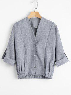 Button Up Rolled Cuff Sleeve Coat - Light Gray M