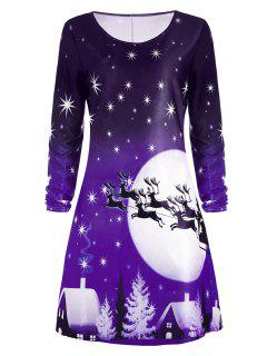 Christmas Deer Long Sleeve Dress - Purple 2xl