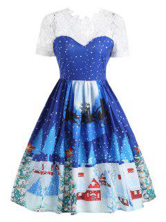 Lace Panel Christmas Print 50s Swing Dress - Blue 2xl
