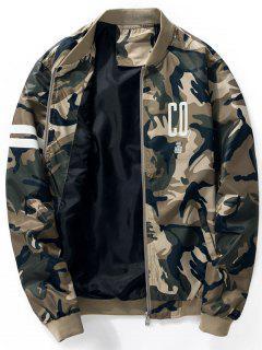 Graphic Print Camo Bomber Jacket - Khaki 4xl