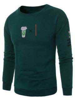 Sweat-shirt Ras Du Cou à Motif Café Brodé En Molleton - Vert L