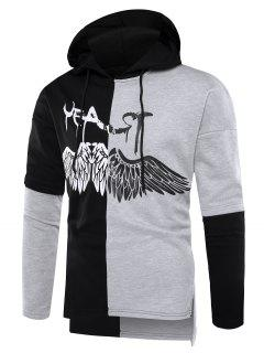 Hooded Color Block Wings Graphic Print Side Slit Hoodie - Dark Grey 2xl