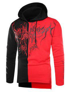 Hooded Color Block Scrawl Print Side Slit Hoodie - Black Red 2xl
