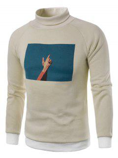 Turtle Neck 3D Foto Print Fleece Pullover Sweatshirt - Khaki L
