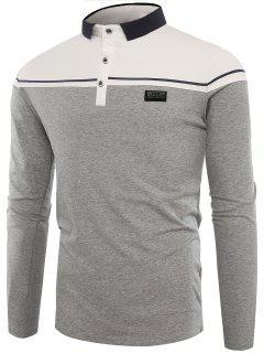 Polo Kragen Tasten Farbblock Applique T-Shirt - Grau L