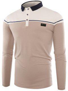 Polo Collar Buttons Color Block Applique T-shirt - Apricot L
