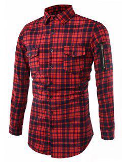 Umlegekragen Tartan Longline Cargo Shirt - Rot 2xl