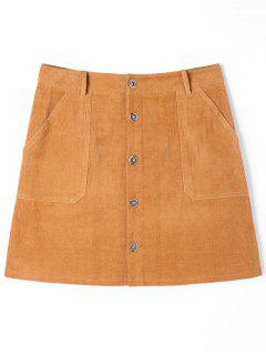 Patch Pockets A-line Corduroy Skirt - Camel Xl