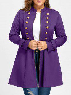 Manteau Évasé Avec Épaulette Et Double Boutonnage Grande Taille - Pourpre Xl