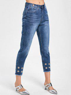 Eyelets Decorated Raw Hem Capri Jeans - Denim Blue M