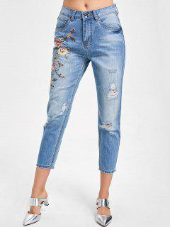Embroidery Distressed Capri Jeans - Denim Blue 2xl