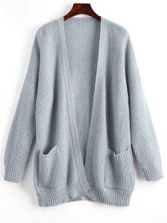 Oversized Ribbed Long Sleeve Cardigan - Gray