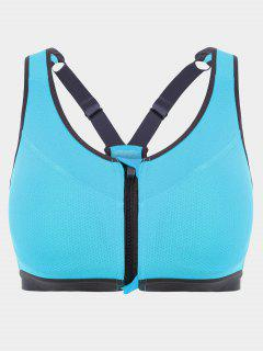 Padded Front Zipper Y Back Sports Bra - Lake Blue S
