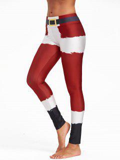 Christmas Belt Print Color Block Leggings - Red L