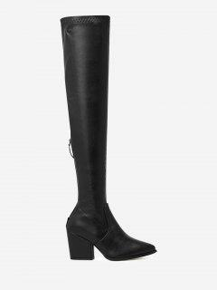 Block Heel Faux Leather Over-the-Knee Boots - Black 38