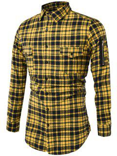 Turndown Collar Tartan Longline Cargo Shirt - Yellow L