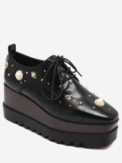 PU Leather Faux Pearl Embellished Wedge Shoes - Black 36