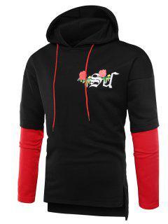 Hooded Rose Graphic Print Side Slit Hoodie - Black M
