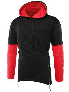 Hooded Color Block Zipper Curve Bottom Hoodie - Black Xl