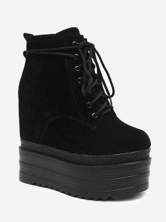 Tie Up Platform Ankle Boots - Black 35/5.5